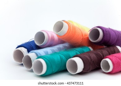 Many color thread, String, Cord, Hank, Strand on the white background