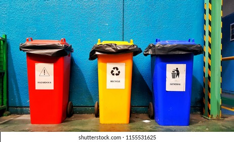 Many color and type wheelie trash can, garbage can, dustbin, rubbish bin row in Factory.