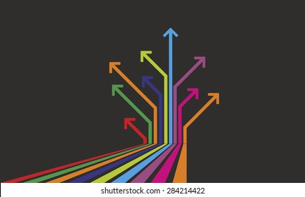 many colored arrows pointing in different directions