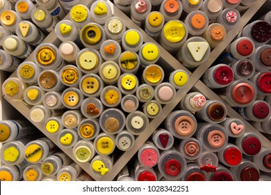 many colored buttons in exhibition in Norway in Lofoten in Harstad