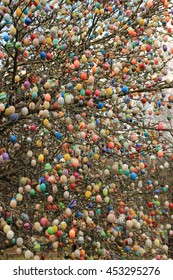 Many colored Easter eggs on the tree