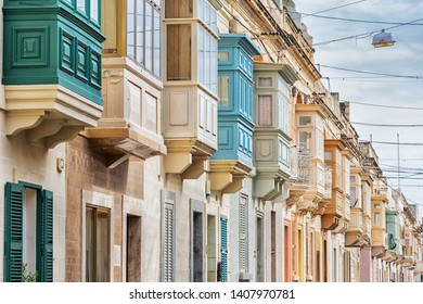Many colorful balconies, typical for Malta.