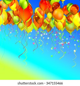 many colorful ballons in the blue sky