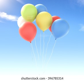 Many colorful balloons in clear skies