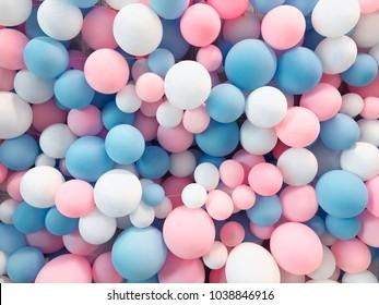 Veel kleurrijke ballonnen versierde muur als achtergrond