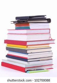 Many Colorful book  over white background.