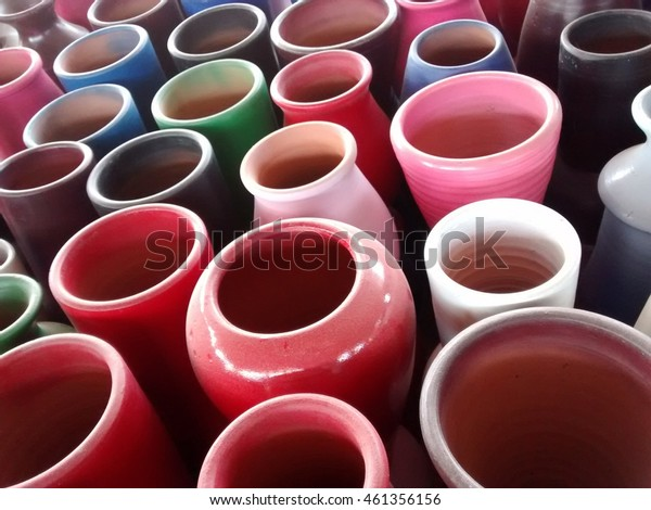 many colorful ceramic vases top view
