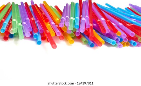 Many colorful cocktail tubules isolated on white background