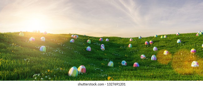 Many colorful easter eggs in the grass of a meadow for easter at sunset