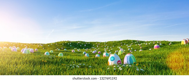 Many colorful easter eggs painted with water paint in the grass of a meadow for easter