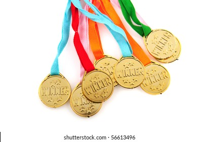 Many colorful golden medals for the winners