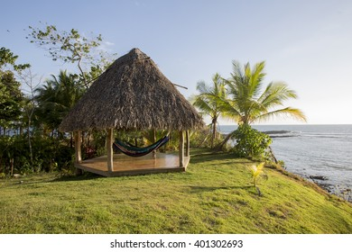 Many colorful hammocks hanging at veranda in Panama