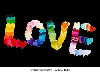 Many colorful hearts make up the word Love on black background
