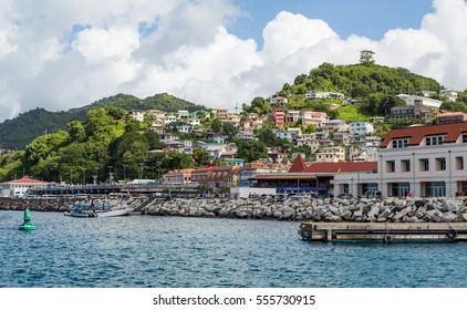 Many Colorful Homes on Grenada Hillside