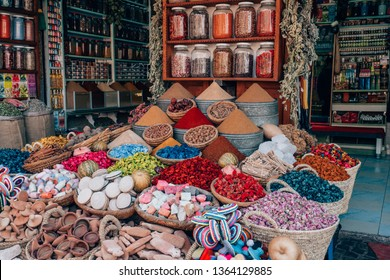 many colorful spices on a street shop in marrakech, morocco