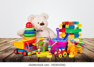 Many colorful toys collection on the desk
