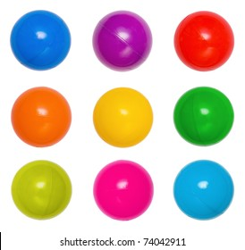 Many colour plastic balls from children's small town