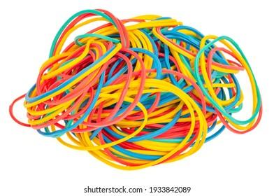 Many colourful multi coloured elastic rubber bands on white background. Studio Photo