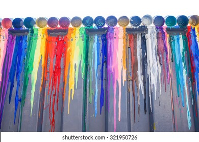 Many colours splash dripping and spilling for wall background