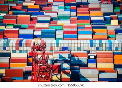 many containers in stacked shanghai container terminals
