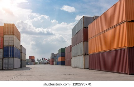 many containner in logistic commercial transport industry for background