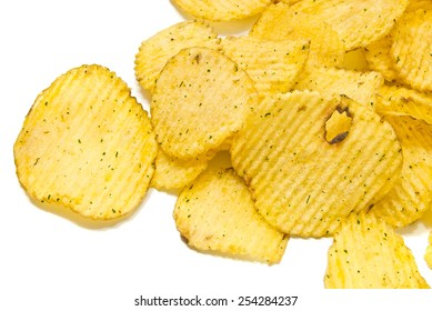many corrugated chips closeup on white background