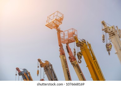 Many crane lift or mobile on construction industrial