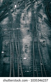 many crossed rails and all steel infrastructure near railway station in Prague, Czech Republic
