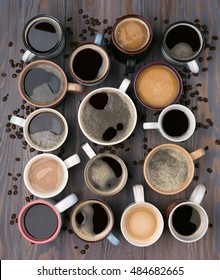 Many cups of coffee on wooden background, top view. Ideas communication corporate concept. Top view, flat lay style
