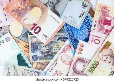Many currency collections indicating inflation rate and hike in price
