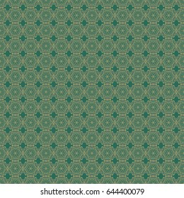 Many cute flowers. Classic wallpaper seamless vintage flower pattern background in yellow and green colors.