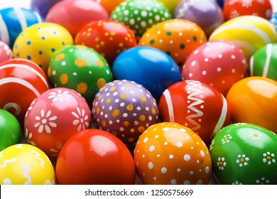 Many decorated Easter eggs as background. Festive tradition
