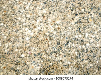 Many decorative stones in concrete as background front view closeup