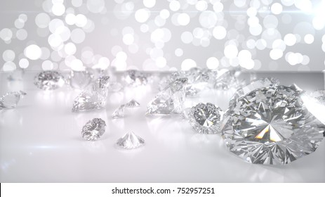 Many diamonds on glossy surface. 3d illustration