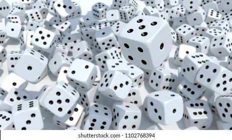 many dices fall on white background, blur version 3d illustration