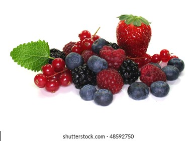 many different berries on a white background