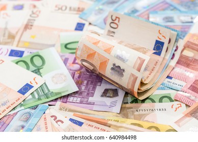 Many different euro banknote as background .