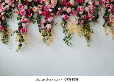 many different flowers and herbs on a wall