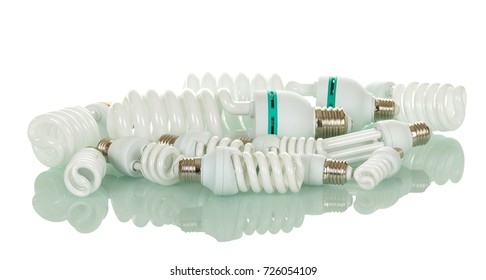 Many different fluorescent light bulbs isolated on white background.
