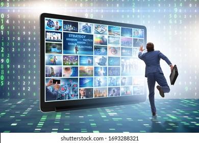 Plusieurs images différentes dans le concept de diffusion vidéo en continu