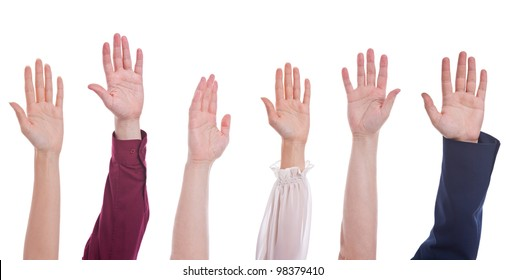 many different people hands raised up isolated on white background