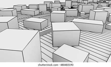 Many different sized cartons moving on conveyors, sketchy. 3D rendering