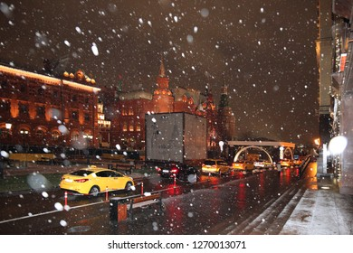 Many different Taxi cars on the background of The Museum of Moscow and the Historical Museum. Moscow. 22.11.2018