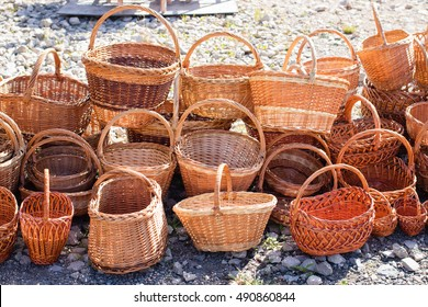 Many different wicker baskets for sale