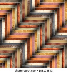 many different wood tiles forming floor, mounted abstract parquet