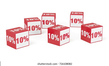 Many discount or special offer cubes in red with discount sign (3D Rendering)