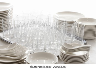 Many Dishes And Cups