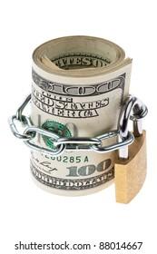 many dollar bills are locked with a lock