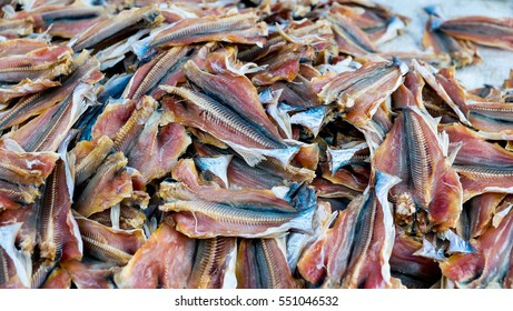 Many dried fishes background texture in the market
