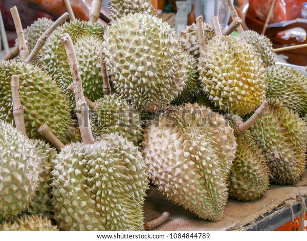 Many durians for sale in the market or king of fruit.